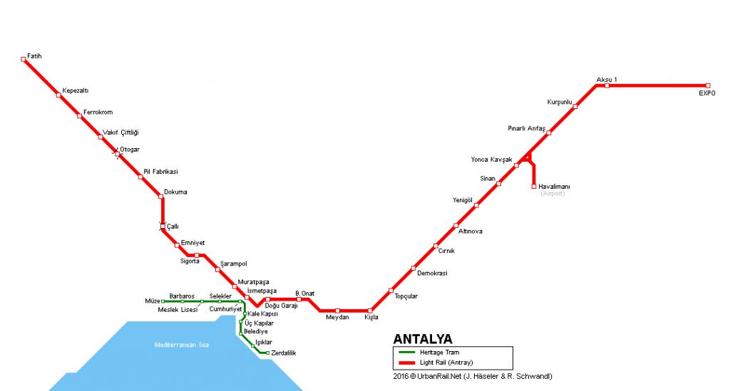 نقشه خطوط تراموا آنتالیا