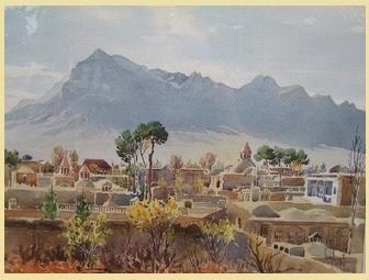 نقاشی آبرنگ از محله جلفای اصفهان