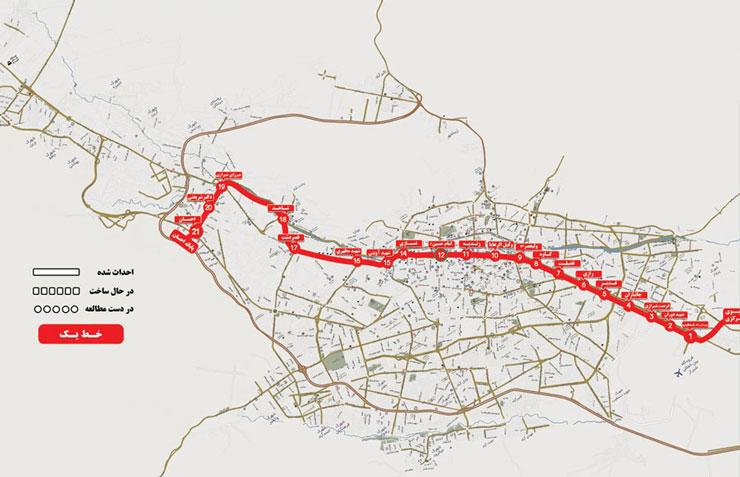 خط 1 متروی شیراز: پل احسان – فرودگاه