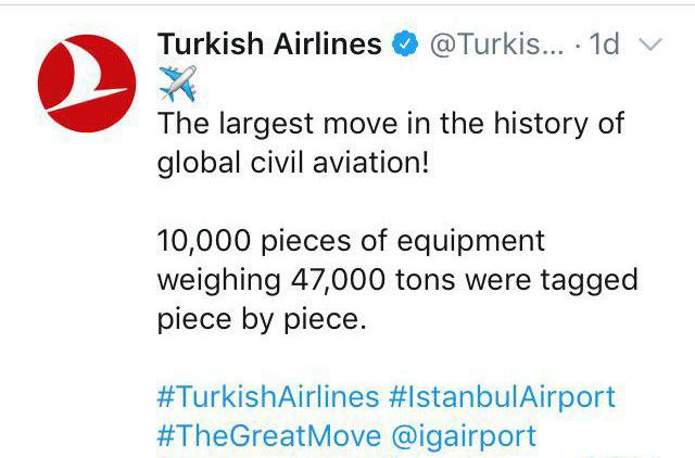 توئیت فرودگاه جدید استانبول