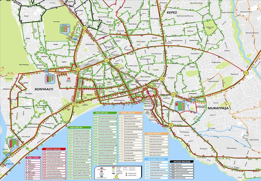 نقشه مسیر اتوبوس آنتالیا